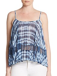 Bcbgeneration Tie Dye Lace Inset Tank Top Dark Wave