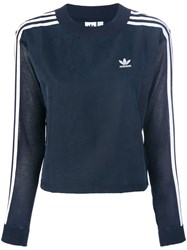 Adidas 3 Stripes Sweatshirt Polyester Lyocell Blue
