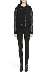 Givenchy Women's Neoprene And Leather Hooded Moto Jacket Black