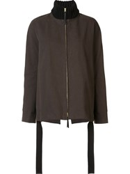 Marni Standing Knit Collar Jacket Green