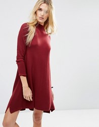 Asos Knit Tunic Dress In Cashmere Mix Dark Red