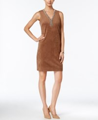 Jessica Howard Embellished Faux Suede Sheath Dress Brown