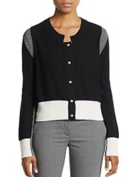 Aquilano Rimondi Colorblock Wool Cashmere And Silk Cardigan Black