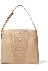 Vince Python Effect Paneled Leather Shoulder Bag Sand