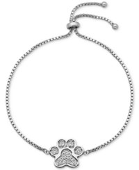 Giani Bernini Cubic Zirconia Pave Paw Adjustable Bracelet In Sterling Silver Only At Macy's