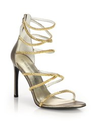 Stuart Weitzman Xchain Metallic Leather Evening Sandals