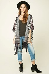 Forever 21 Fringed Geo Patterned Poncho