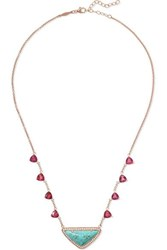 Jacquie Aiche 14 Karat Rose Gold Multi Stone Necklace