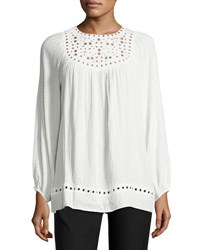 Max Studio Long Sleeve Embroidered Cut Top Ivory