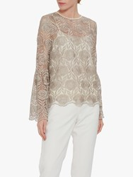 Gina Bacconi Embroidered Top Butter Cream