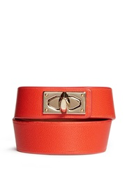 Givenchy Shark Tooth Double Wrap Leather Bracelet Orange