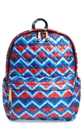 M Z Wallace Mz Wallace 'Metro' Quilted Oxford Nylon Backpack Blue Zig Zag