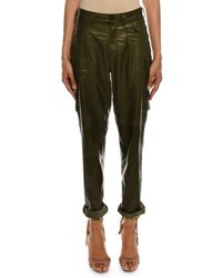 Tom Ford Cropped Leather Cargo Army Pants Dark Green