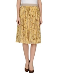 Les Copains Knee Length Skirts Yellow