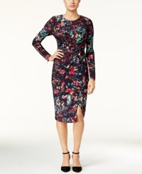 Thalia Sodi Printed Faux Wrap Dress Only At Macy's Deep Black Combo