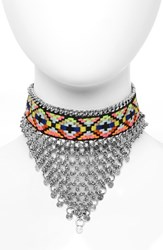 Topshop Women's Woven Chainmail Choker Silver
