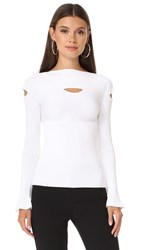 Cushnie Et Ochs Boat Neck Top With Cutouts White