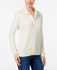 Alfred Dunner Chenille Zip Up Cardigan Ivory
