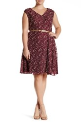 London Times Cap Sleeve Lace Dress Plus Size Red