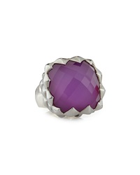 Stephen Webster Polished And Rhodium Plated Superstud Cocktail Ring W Sugilite And Quartz Doublet 31.28 Tcw
