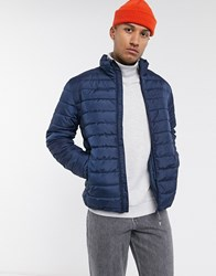 Only And Sons Padded Stand Collar Jacket In Navy