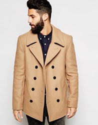Gloverall Peacoat In Wool Tan