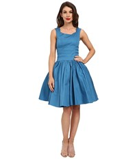 Unique Vintage Roman Holiday Brushed Cotton Swing Dress Teal Blue Women's Dress