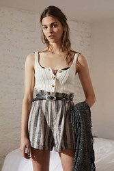 Urban Outfitters Uo High Rise Striped Paperbag Short Neutral Multi