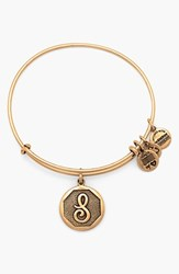 Women's Alex And Ani 'Initial' Adjustable Wire Bangle S Russian Gold
