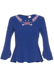 Peter Pilotto Geometric Embroidered Fluted Hem Top Blue Multi