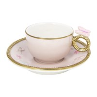 Villari Butterfly Coffee Box Set Of 2 Cups And Round Saucers Baby Rose
