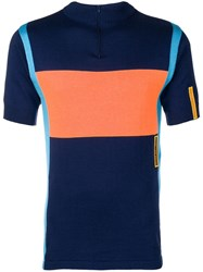 Martine Rose Colour Block Knitted Cycling Top Blue