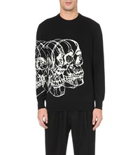 Alexander Mcqueen Skull Print Wool And Cashmere Blend Jumper Black Ivory