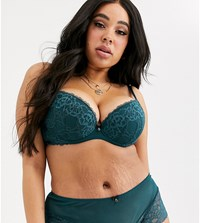 Ann Summers Curve Sexy Lace Plunge Bra In Teal Green