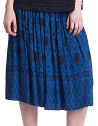 Plenty By Tracy Reese Smocked Printed Skirt Blue