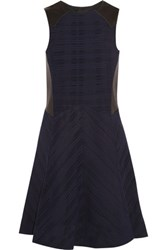 Rag And Bone Basha Leather Paneled Open Knit Jersey Mini Dress Midnight Blue