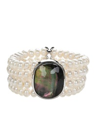 Honora Style Sterling Silver And Fresh Water Pearl Doublet Bracelet White