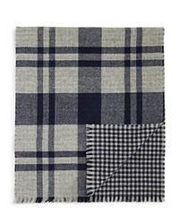 Bloomingdale's The Men's Store At Reversible Plaid Gingham Scarf Light Grey Charcoal
