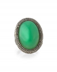 Bavna Pave Diamond And Chrysoprase Cocktail Ring Size 7