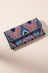 Anthropologie Blue Wings Clutch Oxford