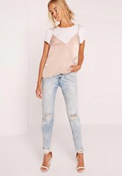 Missguided Petite T Shirt Satin Cami Overlay Nude