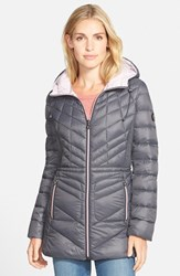 Petite Women's Bernardo Packable Hooded Coat With Down And Primaloft Fill Charcoal Lilac