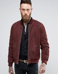 Asos Suede Bomber Jacket With Gold Zips In Burgundy Burgundy Red