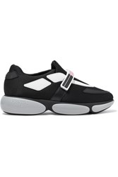 Prada Cloudbust Logo Print Rubber And Leather Trimmed Mesh Sneakers Black