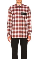 Givenchy Check Shirt With Leather Logo Band In Red Checkered And Plaid Red Checkered And Plaid