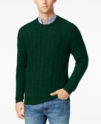 Club Room Men's Cable Knit Cashmere Sweater Only At Macy's Dark Forest