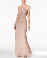 Adrianna Papell Beaded Low Back Halter Gown Rose Gold