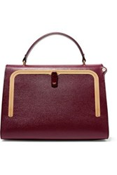 Anya Hindmarch Postbox Textured Leather Tote Burgundy