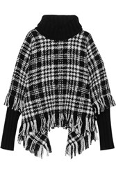 Dolce And Gabbana Fringed Wool Blend Tweed Turtleneck Poncho Black