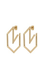Michelle Campbell 'Honeycomb' 14K Gold Hoop Earrings Metallic